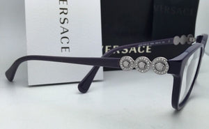 New VERSACE Eyeglasses VE 3181-B 5064 53-15 140 Eggplant Purple Frame w/Crystals