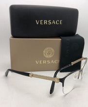 Load image into Gallery viewer, New VERSACE Rx-able Eyeglasses MOD 1228 1291 53-17 Black & Gold Cat Eye Semi Rimless