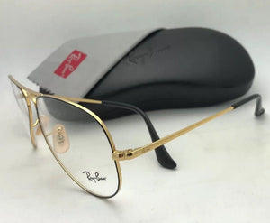 New RAY-BAN Aviator Rx-able Eyeglasses RB 6489 2946 55-14 140 Black & Gold Frame