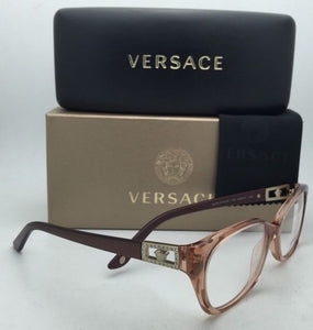 New VERSACE Rx-able Eyeglasses VE 3170-B 772 Brown Transparent Frames w/Crystals