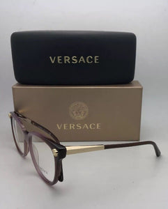 New VERSACE Eyeglasses MOD.3242 5229 54-18 Purple Fade Brown Frame w/Medusa Gold