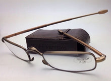 Load image into Gallery viewer, New Folding JOHN VARVATOS Eyeglasses V801 +1.00 Antique Gold Transitions Readers