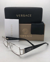 Load image into Gallery viewer, New VERSACE Rx-able Eyeglasses MOD.1163-B 1332 52-16 130 Silver-Black w/Crystals