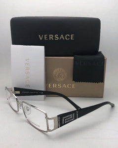 New VERSACE Rx-able Eyeglasses MOD.1163-B 1332 52-16 130 Silver-Black w/Crystals