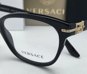New VERSACE Eyeglasses VE 3205-B GB1 54-16 Black & Gold Frame with Crystals