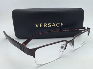 New VERSACE Eyeglasses VE 1184 1269 53-18 Semi-Rimless Brown/Havana Frame