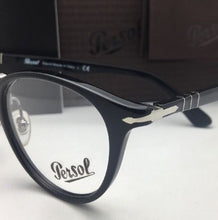 Load image into Gallery viewer, Typewriter Edition PERSOL Rx-able Eyeglasses 3107-V 95 49-22 Black-Silver Frames