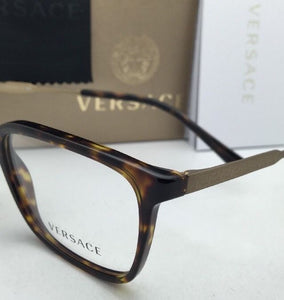 New VERSACE Rx-able Eyeglasses VE 3209 108 55-17 Tortoise & Gold Frames