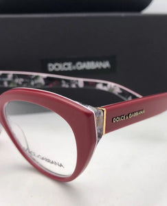 DOLCE & GABBANA Rx-able Eyeglasses DG 3246 3020 51-18 Red on Multi-Color Flowers