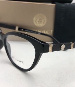 New VERSACE Rx-able Eyeglasses VE 3219-Q GB1 54-17 Black & Gold CatEye Frames