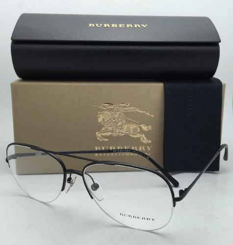 New BURBERRY Eyeglasses B 1226 1007 55-15 Semi-Rimless Matte Black Aviator Frame