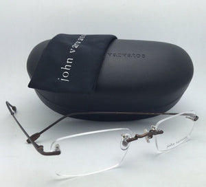New JOHN VARVATOS Eyeglasses V142 51-21 Rimless Brown Metal Frames