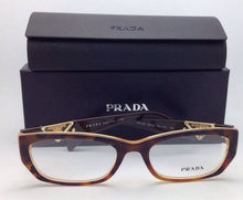 Load image into Gallery viewer, New PRADA Eyeglasses VPR 10O FAL-1O1 52-18 Brown Tortoise & Honey Cat-Eye Frames