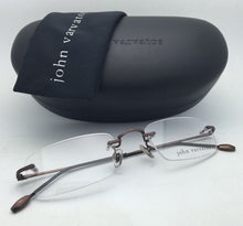 Load image into Gallery viewer, New JOHN VARVATOS Eyeglasses V142 51-21 Rimless Brown Metal Frames