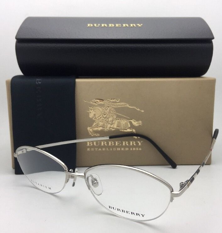 New BURBERRY Eyeglasses B 1263TD 1005 53-16 Silver & Burberry Plaid Semi-Rimless