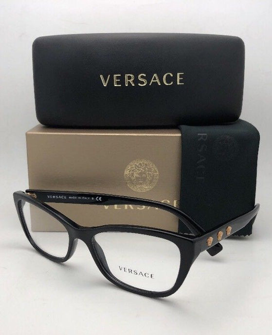 New VERSACE Rx-able Eyeglasses VE 3249 GB1 54-16 Black & Gold Frames Medusa Logos