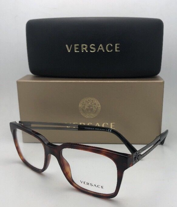 New VERSACE Rx-able Eyeglasses VE 3218 879 53-17 140 Tortoise & Gunmetal Frames