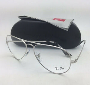 ad0121faeea New RAY-BAN Classic Aviators Rx-able Eyeglasses RB 6489 2501 58-14 Silver  Frames