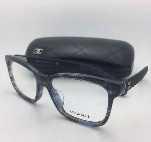 New CHANEL Eyeglasses 3334-A 1552 54-16 140 Blue Grey Tortoise Frame w/ Fabric
