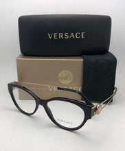 Load image into Gallery viewer, New VERSACE Rx-able Cat Eye Eyeglasses VE 3254 GB1 54-16 140 Black & Gold Frames