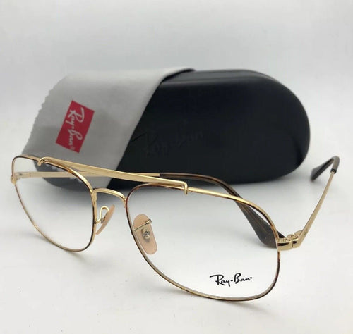 New RAY-BAN Aviators Eyeglasses THE GENERAL RB 6389 2945 57-16 145 Havana & Gold