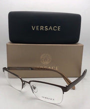 Load image into Gallery viewer, New VERSACE Eyeglasses Rx-able VE 1241 1269 54-18 145 Semi Rimless Brown Frames