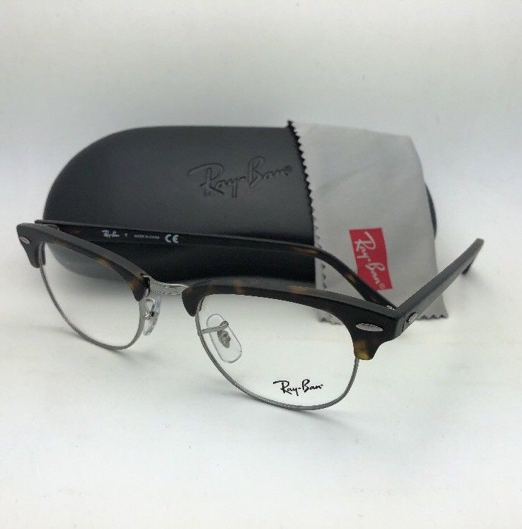 New RAY-BAN CLUBMASTER Rx-able Eyeglasses RB 5154 5211 49-21 Tortoise & Gunmetal