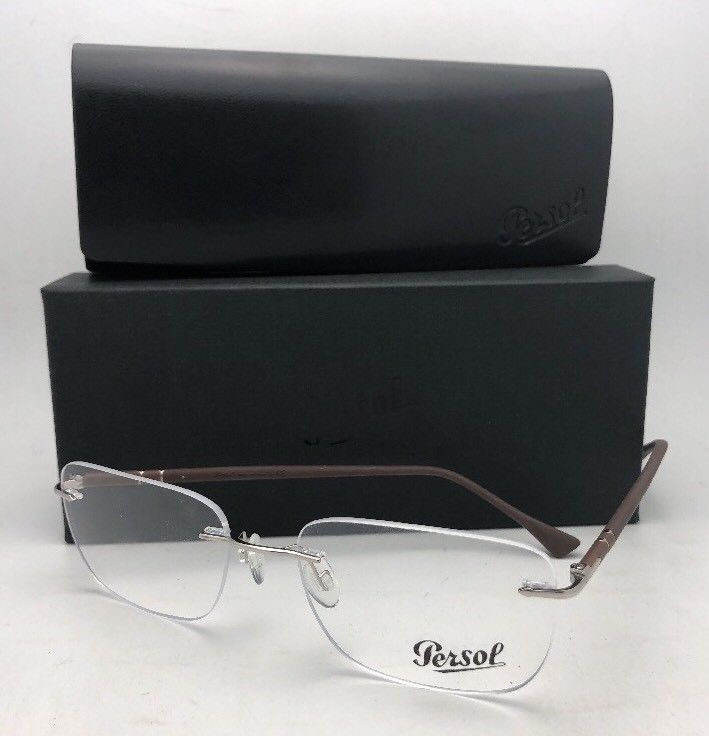New PERSOL Rx-able Eyeglasses 2428-V 1021 54-17 140 Rimless Silver & Brown Frame
