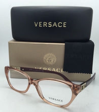 Load image into Gallery viewer, New VERSACE Rx-able Eyeglasses VE 3170-B 772 Brown Transparent Frames w/Crystals