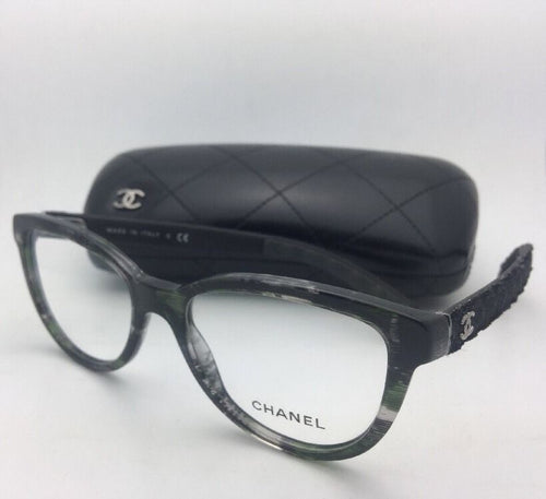 New CHANEL Eyeglasses 3335 1553 54-18 140 Green Grey Tortoise Frame w/ Fabric