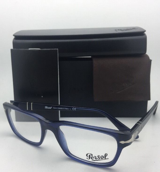 New PERSOL Rx-able Classic Eyeglasses 3096-V 181 53-18 Blue Transparent Frames