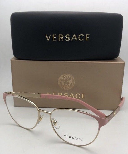 New VERSACE Eyeglasses 1238 1385 54-16 140 Pink & Gold Cat Eye Frame w/ Medusa