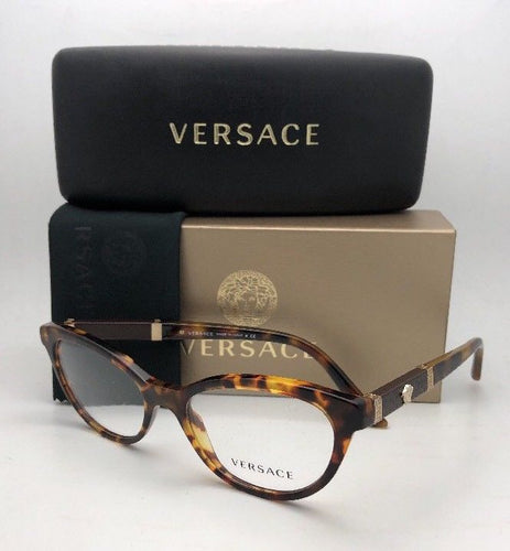 New VERSACE Rx-able Eyeglasses VE 3219-Q 5148 52-17 Tortoise & Gold CatEye Frame