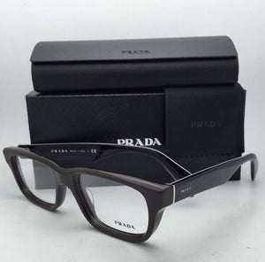New PRADA Eyeglasses VPR 11Q DHO-1O1 52-18 145 Dark Brown and Black Plaid Frame
