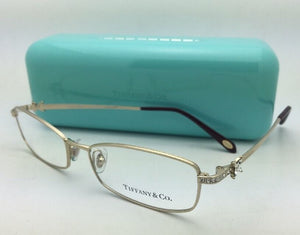 New TIFFANY & CO. Eyeglasses TF 1098-B 6021 53-16 135 Gold Frame w/ Crystals