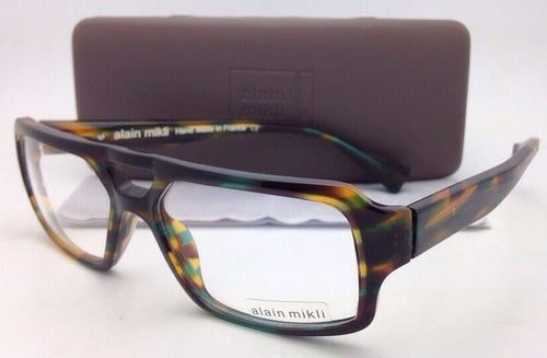 New ALAIN MIKLI Eyeglasses AL 1127 1070 55-15 Green-Brown-Yellow Frame