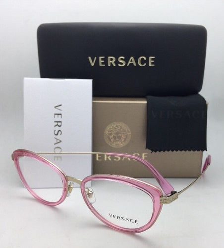 New VERSACE Eyeglasses 1244 1404 53-17 140 Rose Pink & Gold Cat Eye Frames