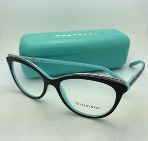 TIFFANY & Co. Eyeglasses TF 2147-B 8055 52-16 Black on Blue Frames with Crystals