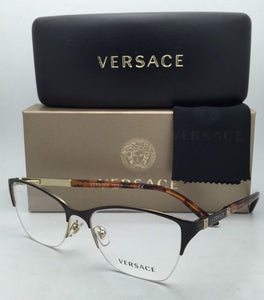 New VERSACE Eyeglasses VE 1218 1344 53-17 Gold-Brown-Tortoise Semi-Rimless Frame