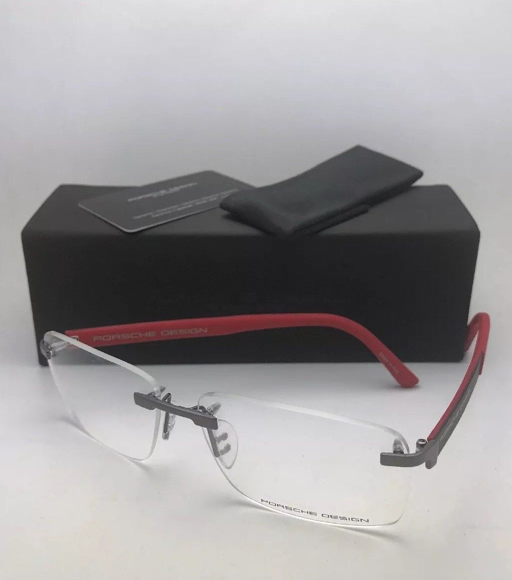New PORSCHE DESIGN Eyeglasses P'8236 D 58-14 140 Rimless Titanium Gunmetal Red Carbon Fiber