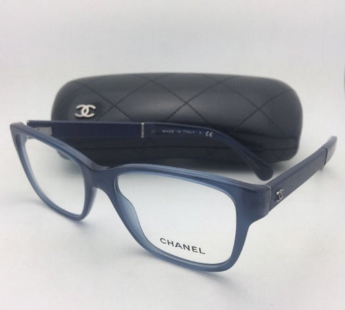 New CHANEL Eyeglasses 3310-Q 1509 52-16 140 Blue Frame w/ Blue Leather