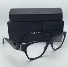 Load image into Gallery viewer, New PRADA Eyeglasses VPR 07R 1AB-1O1 51-18 Black Cat-Eye Frame w/ Black Stones