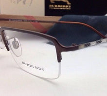 Load image into Gallery viewer, New BURBERRY Eyeglasses B 1257 1012 53-18 Semi-Rimless Brown Frames plaid design
