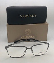 Load image into Gallery viewer, New VERSACE Eyeglasses 1232 1262 56-16 145 Brushed Gunmetal Rectangular Frames