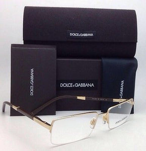 New DOLCE & GABBANA Rx-able Eyeglasses DG 1209 02 54-18 Gold and Brown Frames
