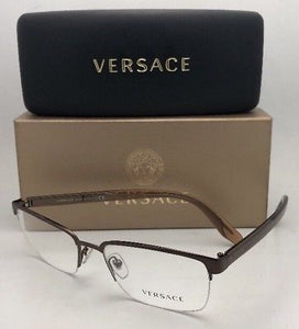 New VERSACE Eyeglasses Rx-able VE 1241 1269 54-18 145 Semi Rimless Brown Frames