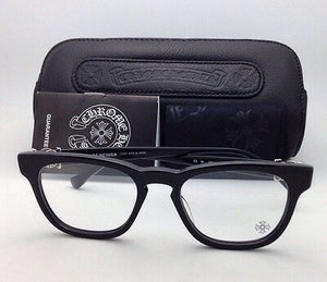 New CHROME HEARTS Eyeglasses LOUVIN CUP BK 48-19 Black Frames w/ Sterling Silver