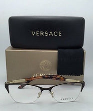 Load image into Gallery viewer, New VERSACE Eyeglasses VE 1218 1344 53-17 Gold-Brown-Tortoise Semi-Rimless Frame
