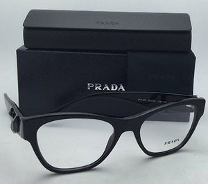 New PRADA Eyeglasses VPR 07R 1AB-1O1 51-18 Black Cat-Eye Frame w/ Black Stones