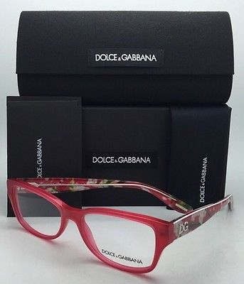 New DOLCE & GABBANA Eyeglasses DG 3204 2850 Pink & Red Frames with Floral Design